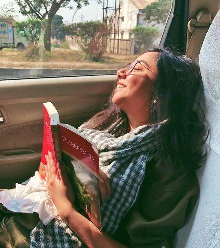 Prajakta Koli Reading Book
