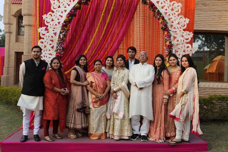 Rabri Devi with her husband and children
