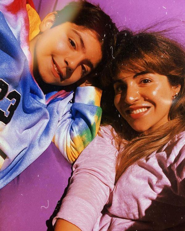 Giannina Maradona with her son Benjamín Agüero Maradona
