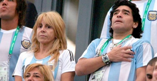 Claudia Villafane and Diego Maradona during a football world cup match