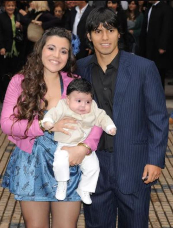 Giannina Maradona with her husband Sergio Agüero, and son Benjamín Agüero Maradona