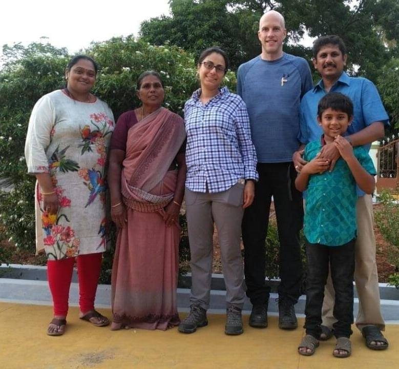 Celine Gounder with her husband and family at her native village