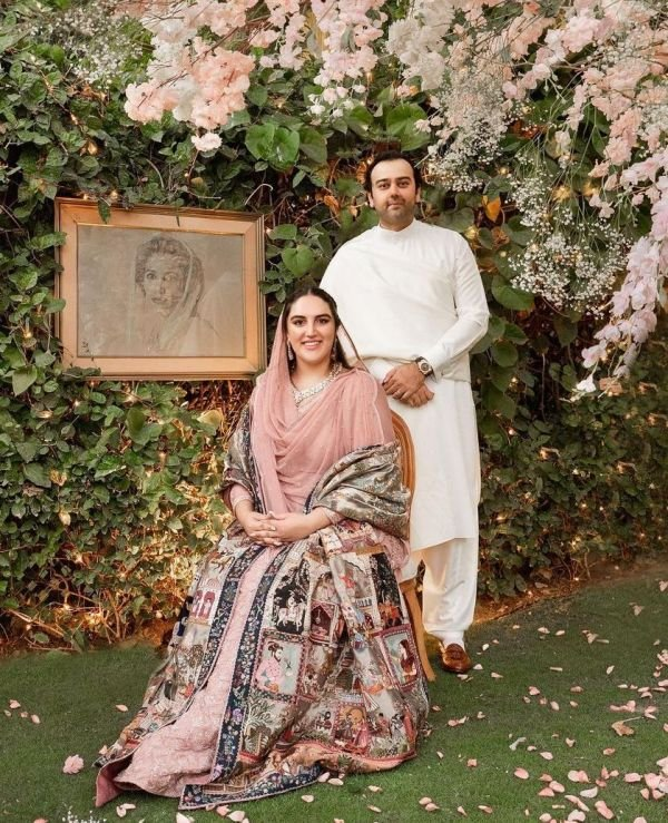 Mahmood Chaudhry and Bakhtawar Bhutto on engagement day