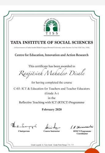 Ranjitsinh Disale's Certificate