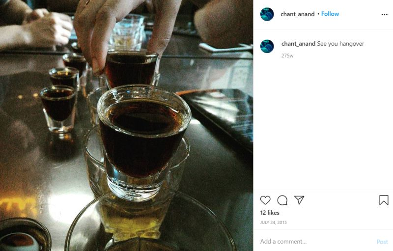 Sumit Anand's Instagram post about consuming achohol