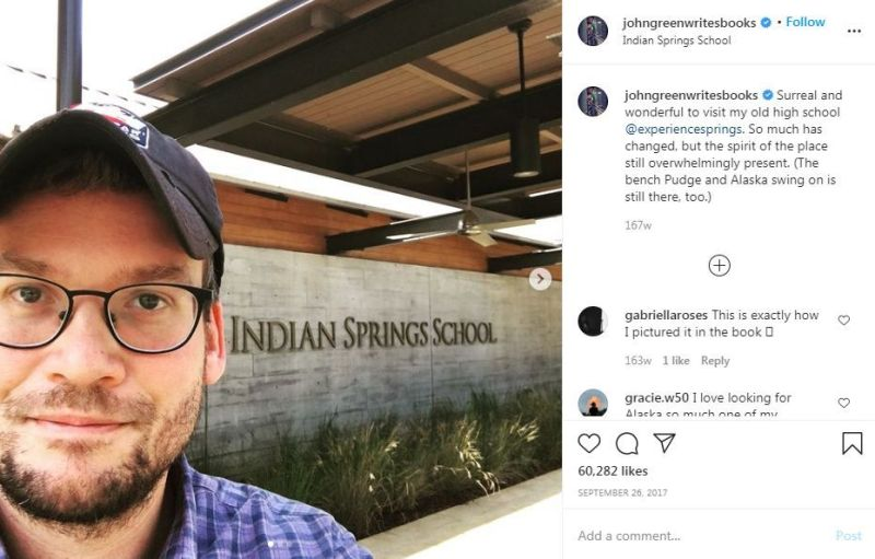 John Green posted this picture when he re-visited his old school on Instagram