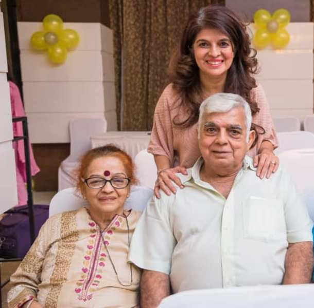 Atul Khatri's parents with his sister Anjali