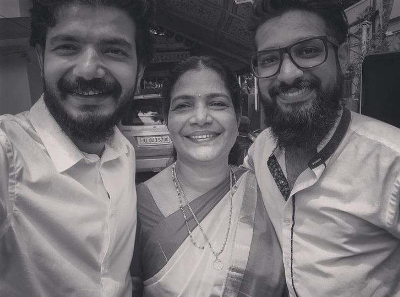 Sreenath Bhasi with his mother and brother