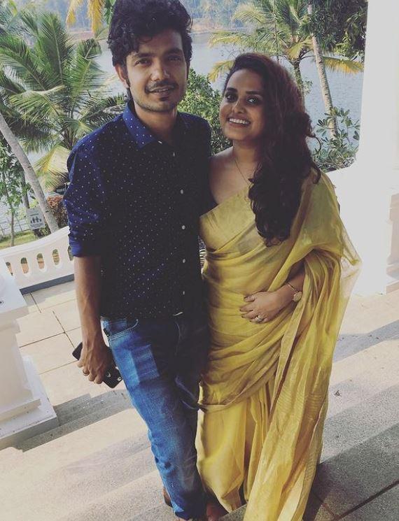 Sreenath Bhasi with his wife
