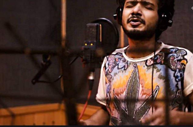 Sreenath Bhasi in a recording studio