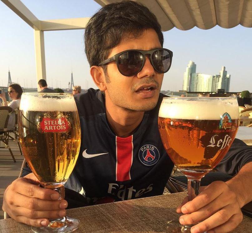 Sreenath Bhasi enjoying beer