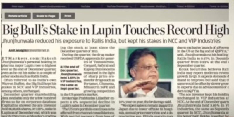 Rakesh Jhunjhunwala's stock Lupin