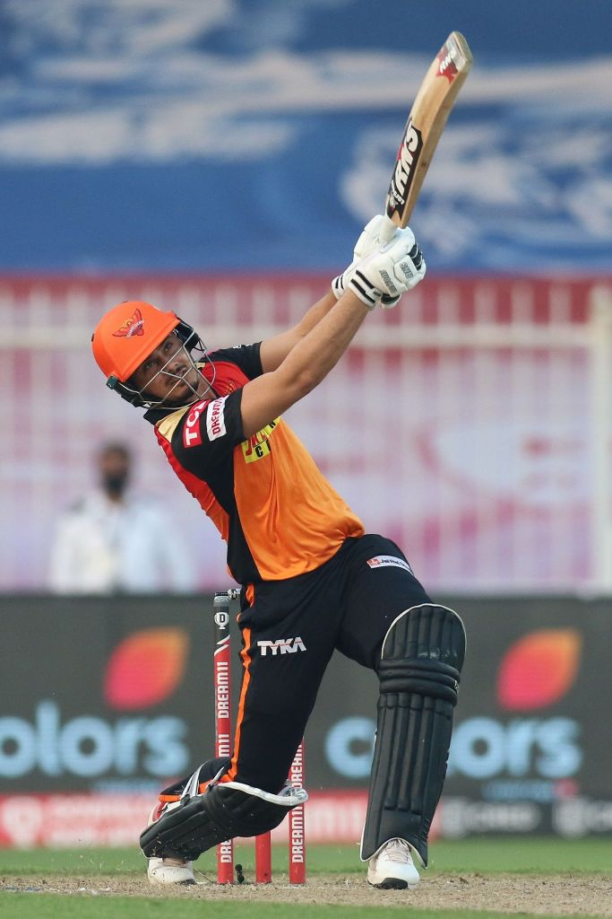 Abdul Samad smashes a maximum over long-on during a match against Mumbai Indians on 4 October 2020 in Sharjah