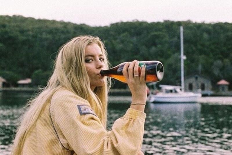Mia Healey drinking alcohol