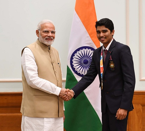 Saurabh Chaudhary with the Indian Prime Minister Narendra Modi