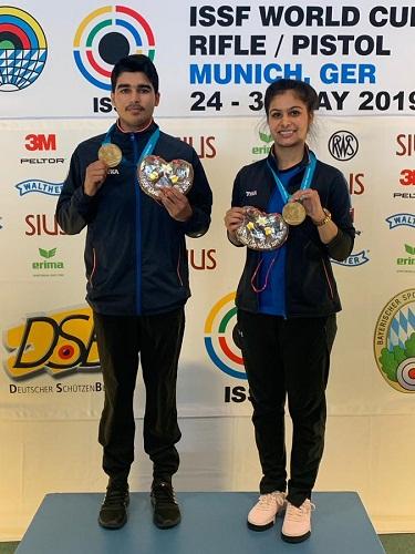 Saurabh Chaudhary with Manu Bhaker at ISSF World Cup 2019