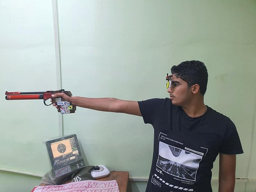 Saurabh Chaudhary while practising shooting