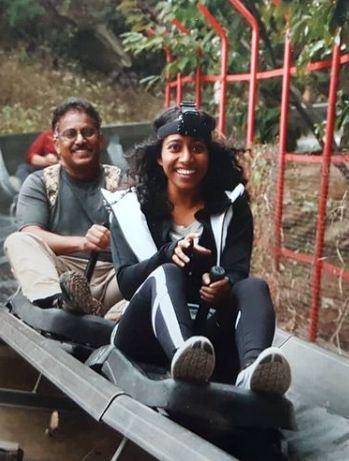 Sirisha Bandla and her father