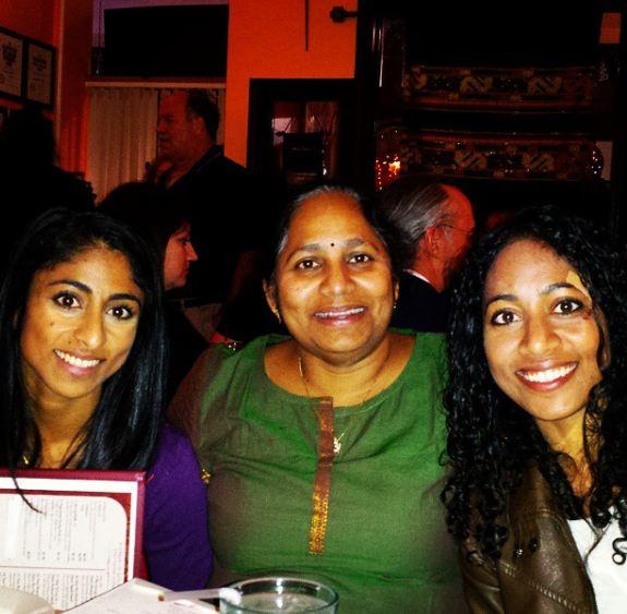 Sirisha Bandla with her mother and sister