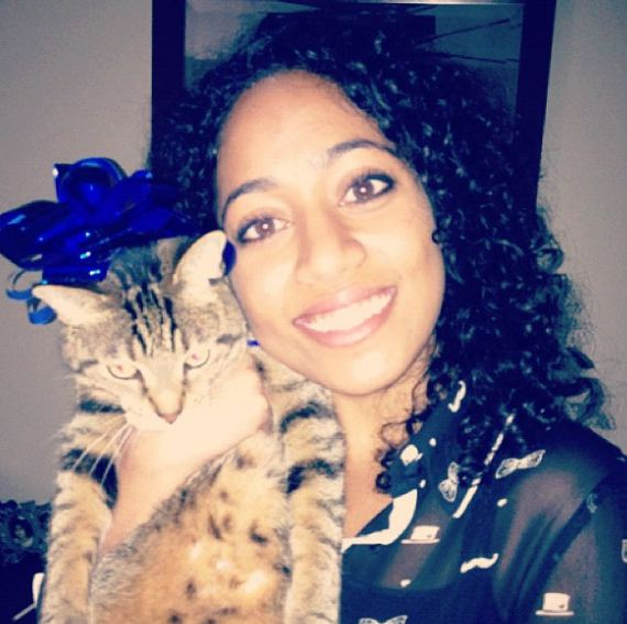 Sirisha Bandla with her pet cat