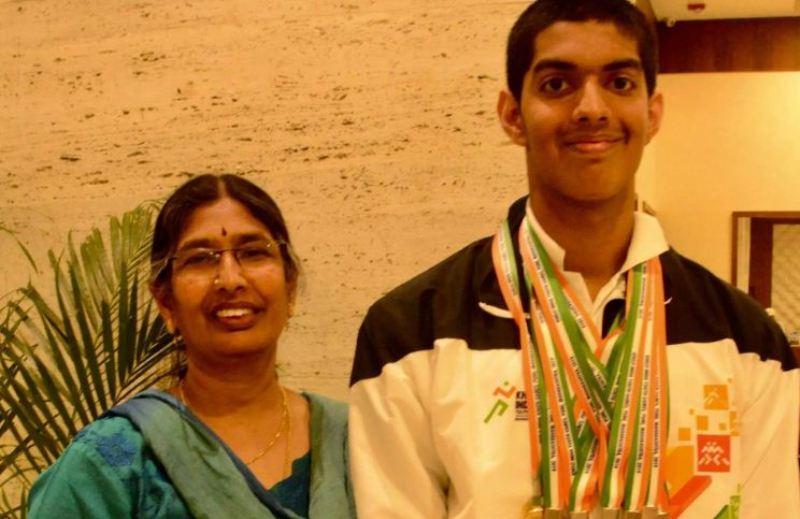 Srihari Nataraj with his mother