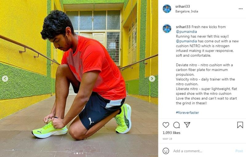 Srihari Nataraj promting PumaIndia on his Instagram account