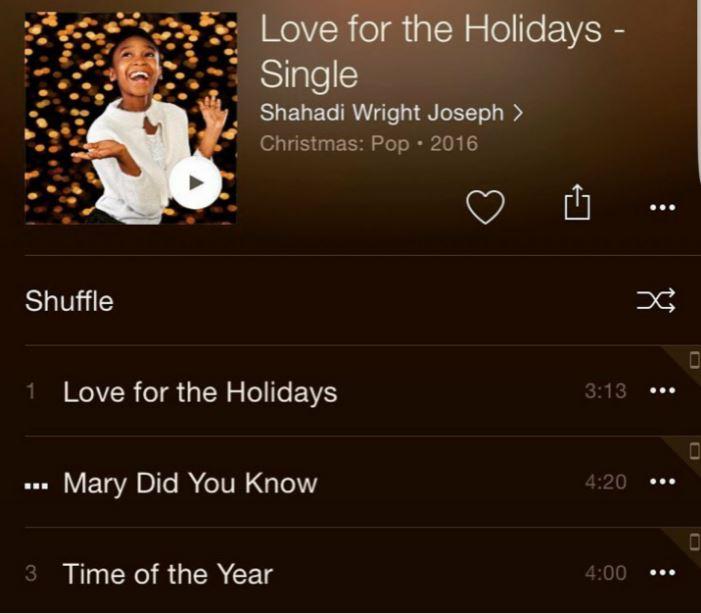 Shahadi Wright Joseph's debut album Love for the Holidays (2016)
