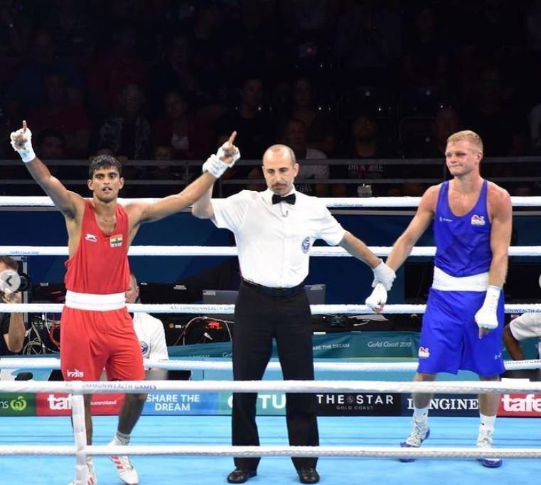 Manish Kaushik after winning a boxing event