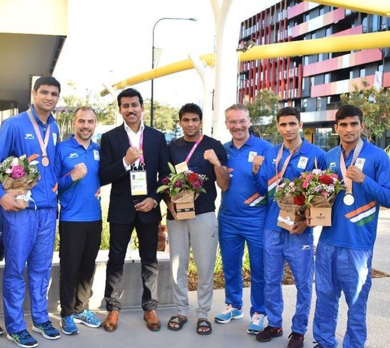 Manish Kaushik with Indian boxing team