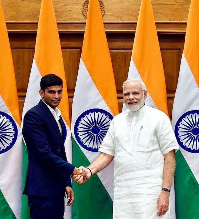 Manish Kaushik with PM Narendra Modi