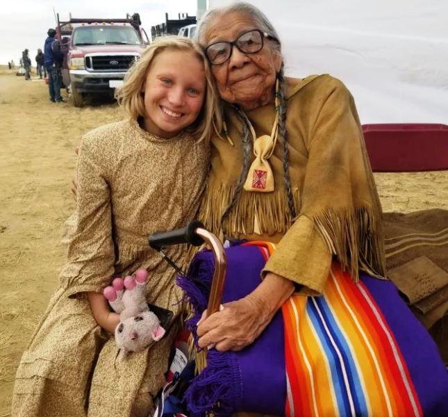 Helena Zengel next to her Kiowa teacher, Dorothy WhiteHorse