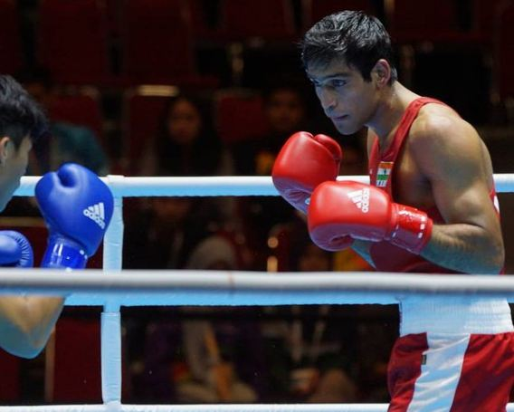 Ashish Kumar during a boxing match