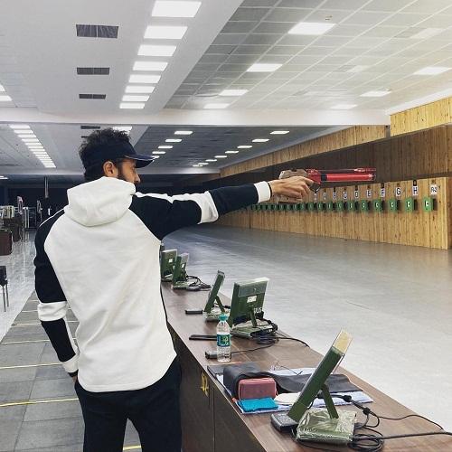 Abhishek Verma while practicing shooting