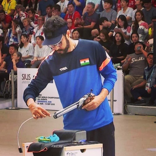 Abhishek Verma during his shooting competition