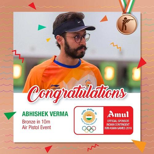 Amul India's Facebook post congratulating Abhishek Verma