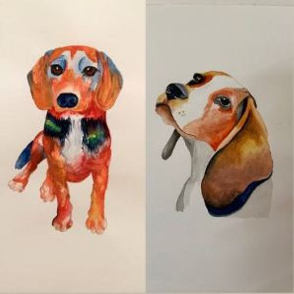 Maana Patel painted a picture her pet dog