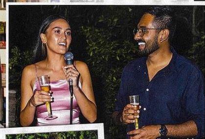 Justin Narayan with his girlfriend