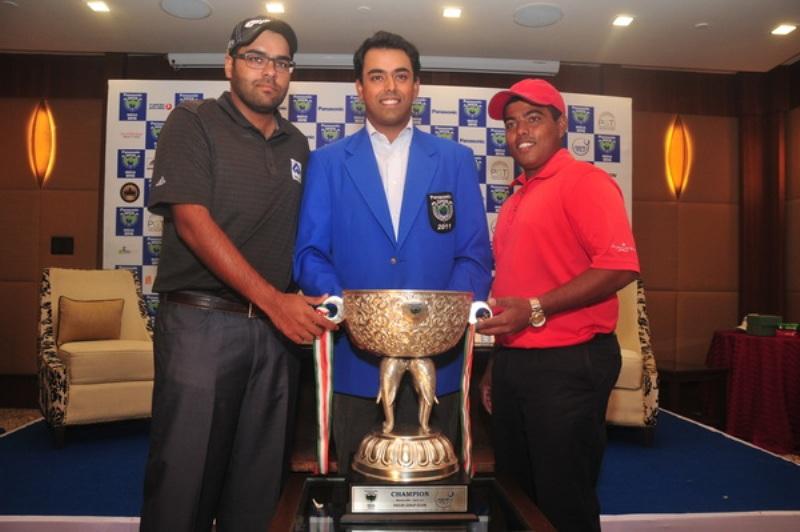 Manav Jaini & Anirban Lahiri of India along with Sri Lanka's Mithun Perera pose with the new trophy