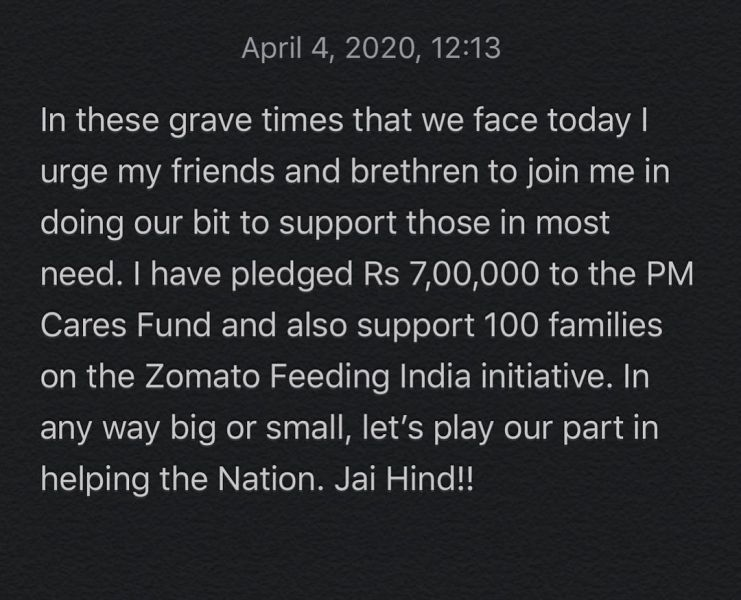 Anirban Lahiri's Instagram post when he donated money to PM CARE Fund in 2020