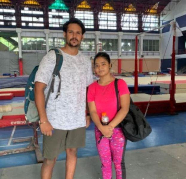Pranati Nayak with her national coach Lakhan Sharma