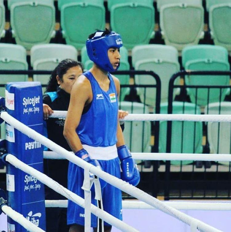 Lovlina Borgohain during a boxing match