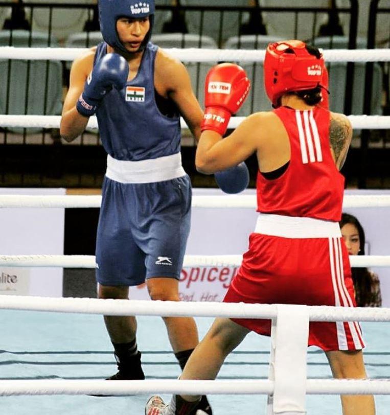 Lovlina Borgohain during a boxing event