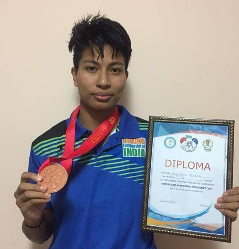 Lovlina Borgohain with a Bronze medal