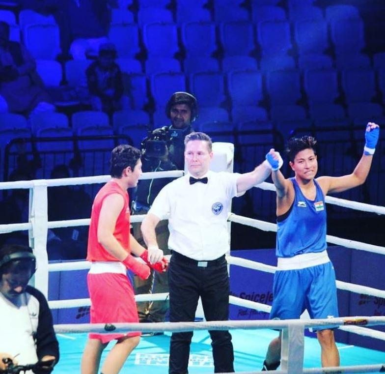 Lovlina Borgohain after winning a boxing match