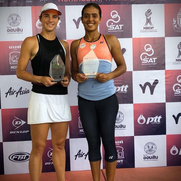 Ankita while posing with the trophy after winning back to back titles in Nonthaburi, Thailand