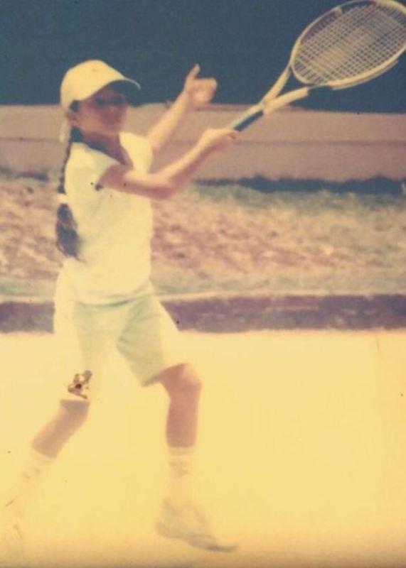 Ankita Raina while playing tennis at a very early age