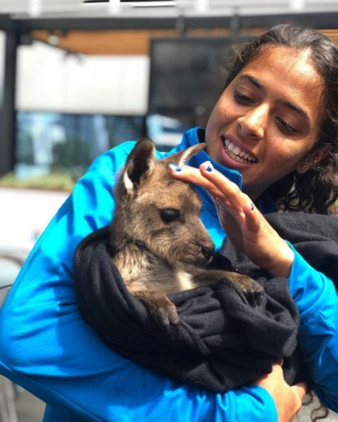 Ankita with her pet dog
