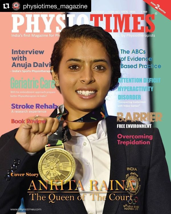 Ankita Raina on the cover page of a sports magazine