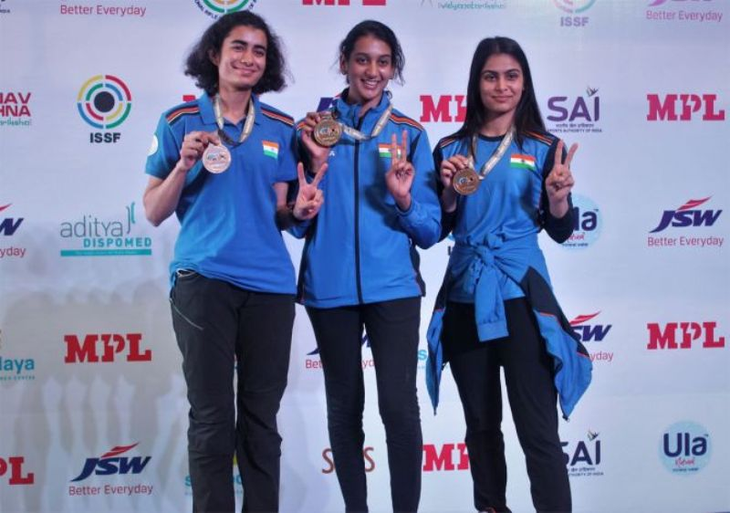 Yashaswini Singh Deswal, Shri Nivetha and Manu Bhaker while winning the gold medal in the women's team 10m air pistol event at the World Cup Rifle Shotgun