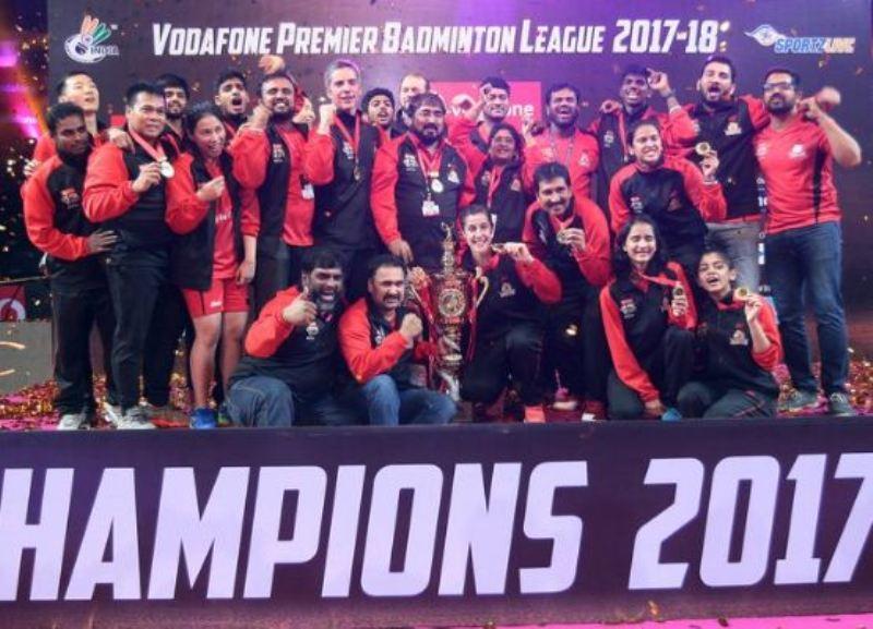 Satwiksairaj Rankireddy with his team at the PBL